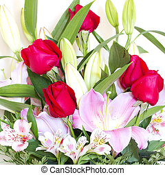 Flower - Beautiful flower bouquet with mixed flowers and...