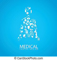 medical design - medical dsign over blue background vector...