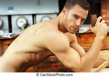 Sexy construction worker - Sexy macho guy shirtless holding...
