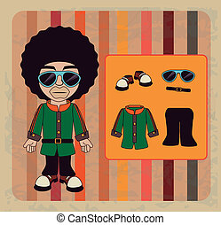 afro style design over lineal background vector illustration...