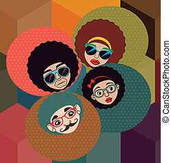 afro style design - afro style design over pattern...