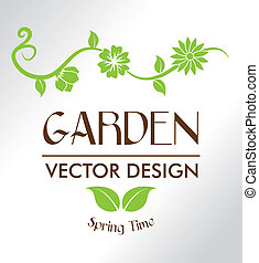 garden design - garden design over gray background vector...