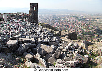 View of Bergama - Ruins of theater and view of Bergama,...