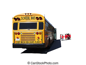 School Aged Children Departing a School Bus on a Field Trip...