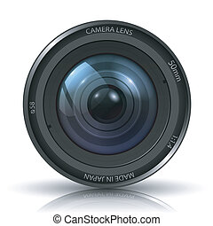 Camera photo lens - isolated on white background...