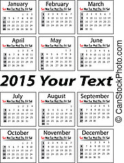 Portrait calendar for 2015 Year in vector format