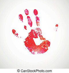 Vector Hand Print - Vector Illustration of an Abstract...