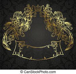 vintage background with golden ornamental design elements