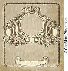Retro floral cartouche. Hand drawn banner and ribbon vector...