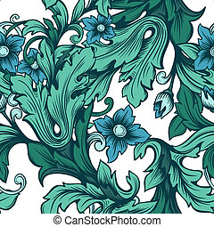 green floral seamless pattern with flowers
