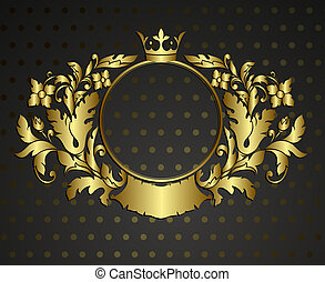 Golden emblem cartouche. Vector vintage border frame...