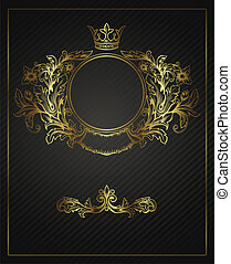 Golden emblem cartouche Vector vintage border frame...