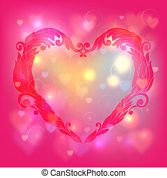 Happy Valentines Day Card Design Ornamental heart14 February...
