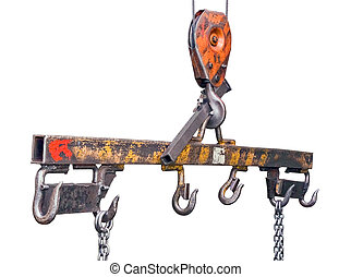 Lifting mechanism with hooks and chains on a white...