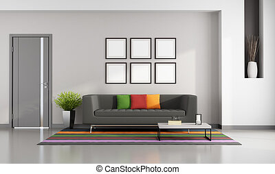 Bright contemporary living room with gray sofa on colorful...