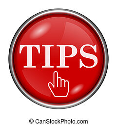 Tips icon - Red round glossy icon with white design on red...