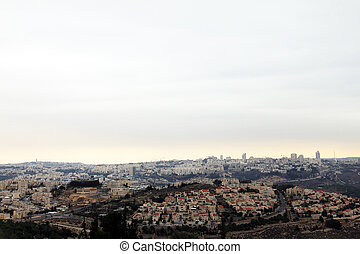 View of Jerusalem from Mount of Prophet Samuel at the...