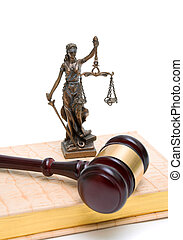 statue of justice, gavel and book on white background