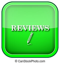 Reviews icon - Square shiny icon with white design on green...