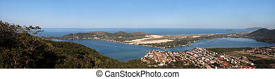 Panoramic Lagoon - A panoramic image of a far view of a city...
