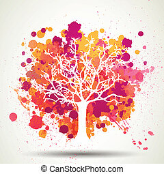 Vector Tree with Splashes - Vector Illustration of an...