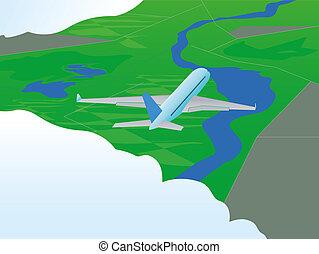 Plane in flight. Vector illustration. EPS10.