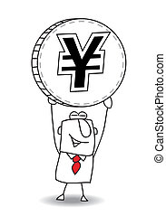 average exchange rate of yen - the business man is holding a...