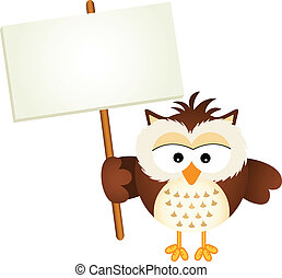Owl Holding Blank Signboard - Scalable vectorial image...