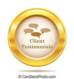 Client testimonials icon - Round glossy icon with brown...