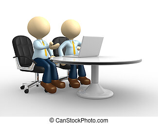 Businessman - 3d people - man, person with a laptop....