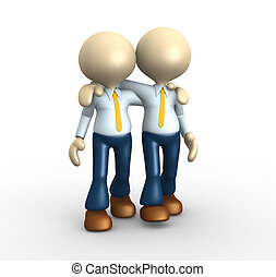 Friends - 3d people - man, person together. Friends