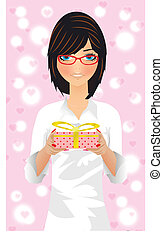 beautiful girl in glasses with a gift on Valentine Day vector