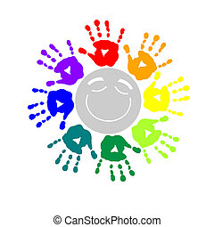 Color circle of hand prints