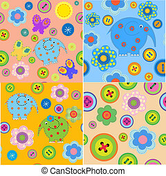 Set of seamless patterns with children's crafts - Set of...