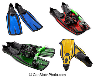 Set of multicolored flippers, mask, snorkel for diving with water drops. Isolated on white background.