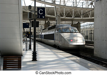 High speed train arriving at a Parisian train station