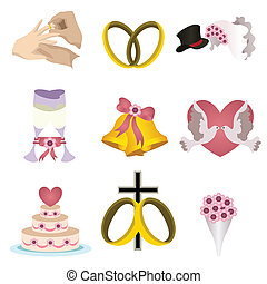 Wedding icons - A vector illustration of wedding icon sets