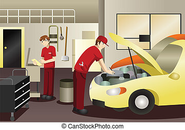 Auto mechanic working on a car - A vector illustration of...