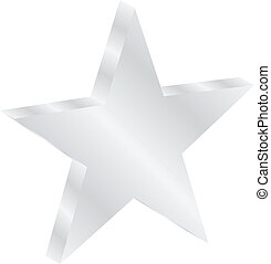 Silver Star Isolated On White Vector Illustration