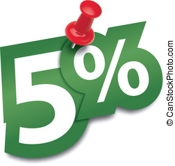 Five percent sticker fixed by a thumbtack. Illustration