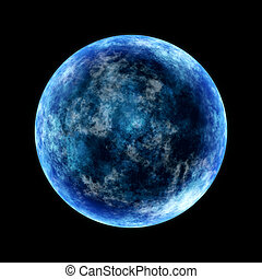 blue moon - round planet lighted from the side in cold blue