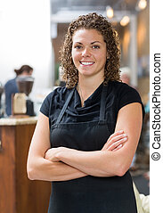 Confident Waitress In Cafeteria