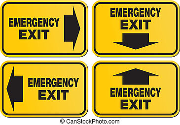 emergency exit signs - yellow sign - suitable for emergency...