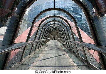 Building tunnel - A walkway between modern buildings