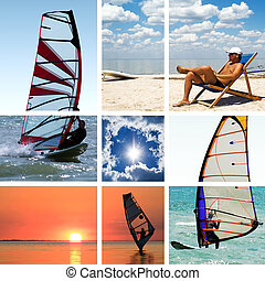 Collage of images on a summer sports theme Surfing