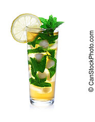 Glass of ice tea with sliced lemon and mint