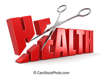 Scissors and Health. Image with clipping path.