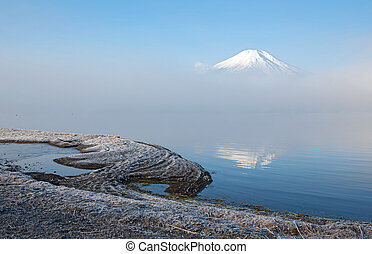 Fujisan with mist Japan - Reflection of Mountain Fuji...