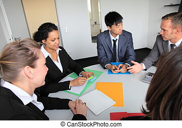 Diverse young business team in a meeting