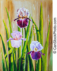 Irises:  An original work of art with acrylics on canvas.